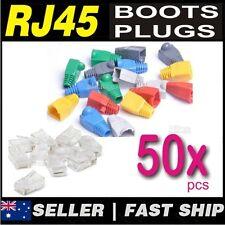 25set pcs RJ45 CAT5 CAT5E CAT6 Network Modular Plug + Boot Caps Any 8 Colour