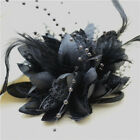 Flower Feather Bead Corsage Bridal Hair Clips Fascinator Hairband and Pin brooch