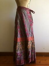 Indian boho hippie retro long wrap skirt 100% cotton - one size fits most 8 - 14