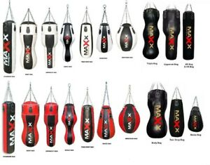 Maxx MAYA Leather Empty Punch Bag Kick Boxing MMA + Chains Unfilled