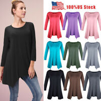 1X 2X 3X Women Plus Round Neck Loose Casual Top Trapeze 3/4 Sleeve A-Line Dress