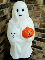 "Halloween Blow Mold Ghost Holding Pumpkin Skull Empire 23"" Lighted - Great Paint"