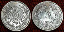 1915 F Mint WILHELM II BU 1/2 Mark German Empire Silver Eagle Coin Lot 5
