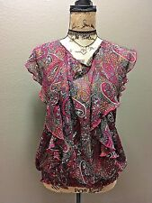 Live to be Spoiled Top Blouse Sz XL Ruffled Flowy Sheer Paisley Elegant Stylish