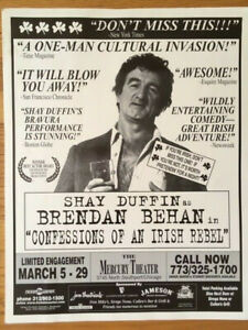"Rare vintage poster for Shay Duffin's one-man ""Irish Rebel"" show (Brendan Behan)"