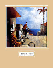 Didier Lourenco bar y bicicleta poster stampa d'arte immagine 50x40cm-porto franco
