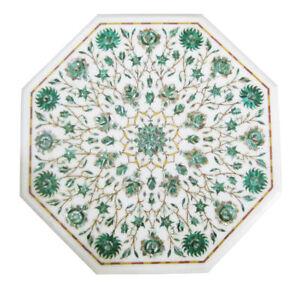 "18"" Marble Corner Table Handicraft Pietra dura Inlay Art Home Decor & Gift"