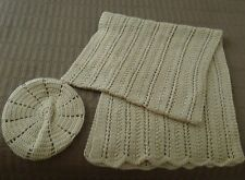 New Handmade Woman's Dark Beige Solid Camel Crochet Shawl & Hat Set - Acrylic