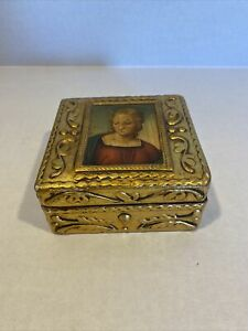 Vintage Small Florentine Trinket Jewelry Box Gold Made in Italy