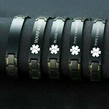Diabetic Warfarin Blood Thinner Medical Alert Bracelet Stainless Steel Curb