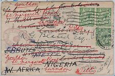 52048 -  GB -  POSTAL HISTORY: COVER to NIGERIA redirected - VERY NICE!! 1922