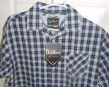 New DaVinci Blue Silver Black Shadow Plaid Loop Collar! Rockabilly 100% Cotton L