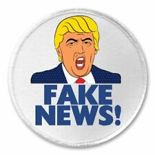 "Donald Trump Fake News! - 3"" Sew / Iron On Patch Newspaper TV Journalism Funny"