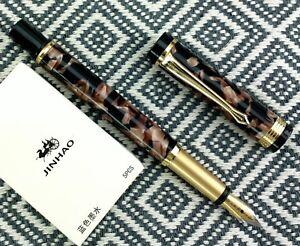 free ship 10 pcs JINHAO cartridges BLACK ink + BROWN marble fountain pen set