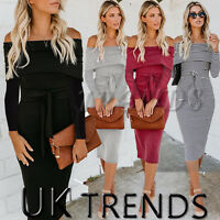 UK Women Long Sleeve Ribbed Bodycon Off One Shoulder Bardot Jumper Dress Ladies