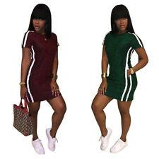 Casual Women Short Sleeves Bodycon Package Hips Clubwear Sports Mini Dress