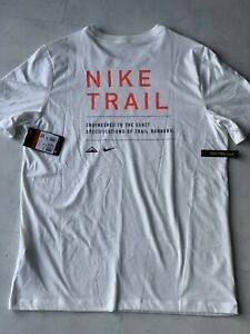 Nike Dri-FIT Men's Trail Running T-Shirt Nike Trail Logo Top Tee Short Sleeve L