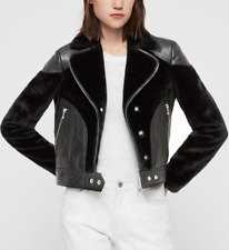 AllSaints ZOLA LUX Leather Jacket With Vegan Shearling. Black. Size 10 UK