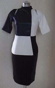 FOREVER UNIQUE ELLEN MONO BLACK WHITE DRESS Size 8 NEW TAGS Women's