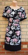 G21 Negro Blanco Rosa Floral Mangas Cortas Vestido ceñido al cuerpo de Verano Té una línea 20