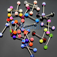 30 Mixed Acrylic 316L Tongue Nipple Bar Ring Barbell Body Piercing Jewelry YG
