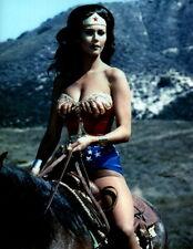 Lynda Carter Wonder Woman riding horse 8x10 photo P1319