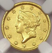 1852-C Liberty Gold Dollar G$1. NGC Uncirculated Detail - Rare MS Charlotte Coin