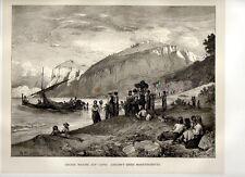 Stampa antica CAPRI Veduta di Marina Grande Napoli 1876 Old print Engraving