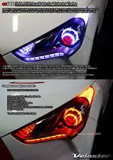 (Fits: Hyundai Veloster 2011-2017) 2way LED Front Custom Headlight Lamp Set