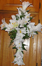 White Lilies Easter Cross Memorial Sympathy Cascading Silk Flower Door Wreath