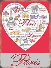 Paris Attractions In A Heart metal sign  (og 2015) POSTAGE