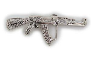 Men Silver Metal Belt Buckle Machine Gun AK47 Hip Hop Sexy Western Fashion Rifle