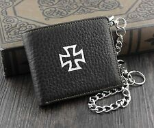 Xtom2013 Mens Boys Simple Iron Cross Real Leather Chain Wallet Biker EMO