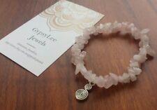 AZTEC SWIRL ♡ Pink Rose Quartz Gemstone Beads Stretchy Bracelet Charm Crystal