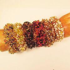 6PC Handmade Beaded Stretch Elastic Gold Toned Bracelets WHOLESALE LOT 6 Colors