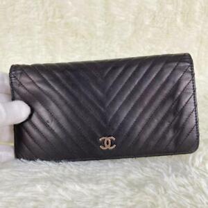 CHANEL V Stitch Long Wallet Folded Coco Mark Matrasse Lambskin