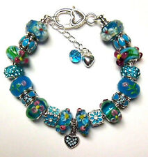 EUROPEAN STYLE MURANO GLASS BEADS CHARM BRACELET TURQUOISE HEARTS AND FLOWERS