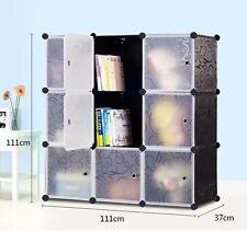 Interlocking Cube Plastic Storage Bookcase Shelves 9 Boxes 3 Tiers 3 Columns