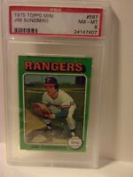 1975 Topps Mini Card #567 JIM SUNDBERG Rangers PSA 8 NM-MT