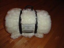 "Tahari Home Faux Fur King Blanket Reversible Creamy White Ivory 108"" x 90"" NWT"