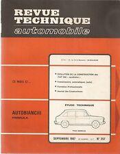 REVUE TECHNIQUE AUTOMOBILE 257 RTA 1967 ETUDE AUTOBIANCHI PRIMULA EVO FIAT 500