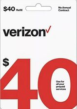VERIZON Prepaid $40 Refill Top-Up Prepaid Card / DIRECT RECHARGE