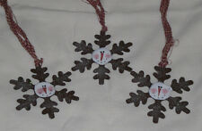3 Primitive Bronze Snowflakes Hand Painted Snowman Ornies Ornaments Gift Ties