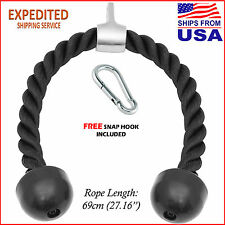 """27"""" Tricep Rope Attachment Cable Machine Handle Fitness Pulldown Triceps Push"""