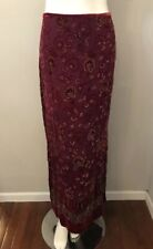 Muse Burgundy Floral Embroidered Chiffon Velvet Maxi Skirt Size 4