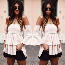 US Fashion Women Ladies Summer Loose Casual Long Sleeve Shirt Tops Blouse S XZ43