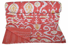 Indian Reversible Kantha Quilt Bedspread Twin Throw Paisley Cotton Bedding Boho