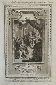 1770 Descent Of The Holy Spirit Biblical Antique Copperplate Print