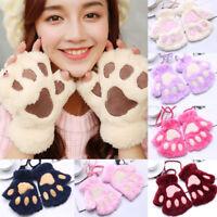 Women Ladies Cute Cat Claw Paw Plush Mittens Winter Warm Short Fingerless Gloves