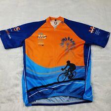 Pactimo Men's L Cycling Shirt Jersey Bay to Bay Ms Bike Tour 2011 Blue Orange
